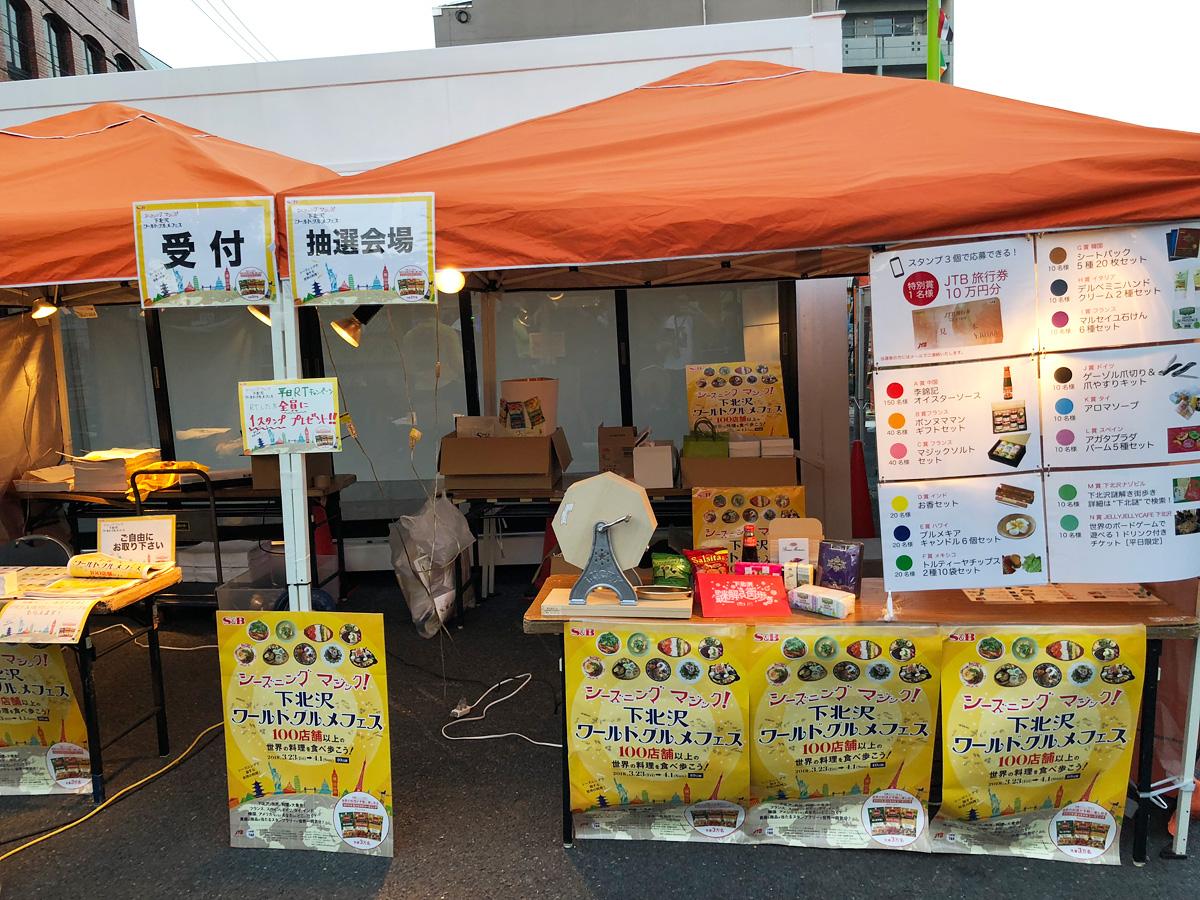 下北沢駅北口前の抽選会場(11:00-20:00)