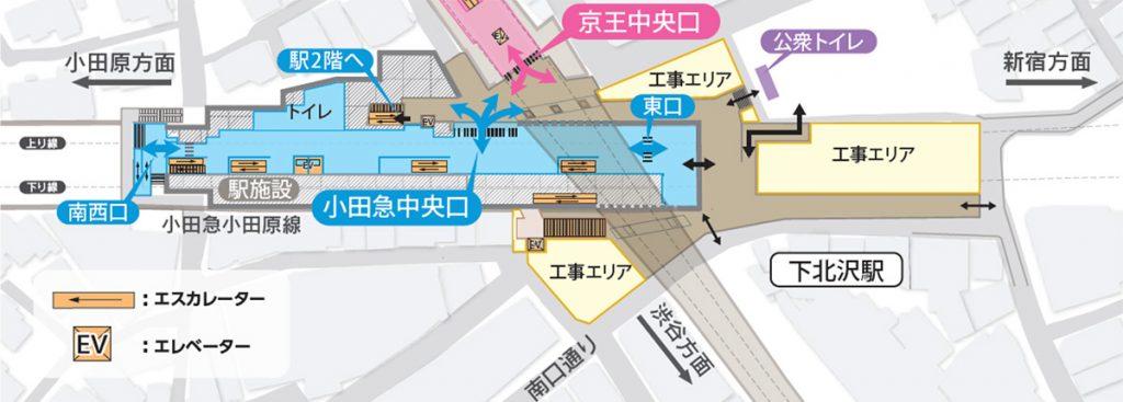 小田急電鉄から発表された、小田急中央口開設後の構内図