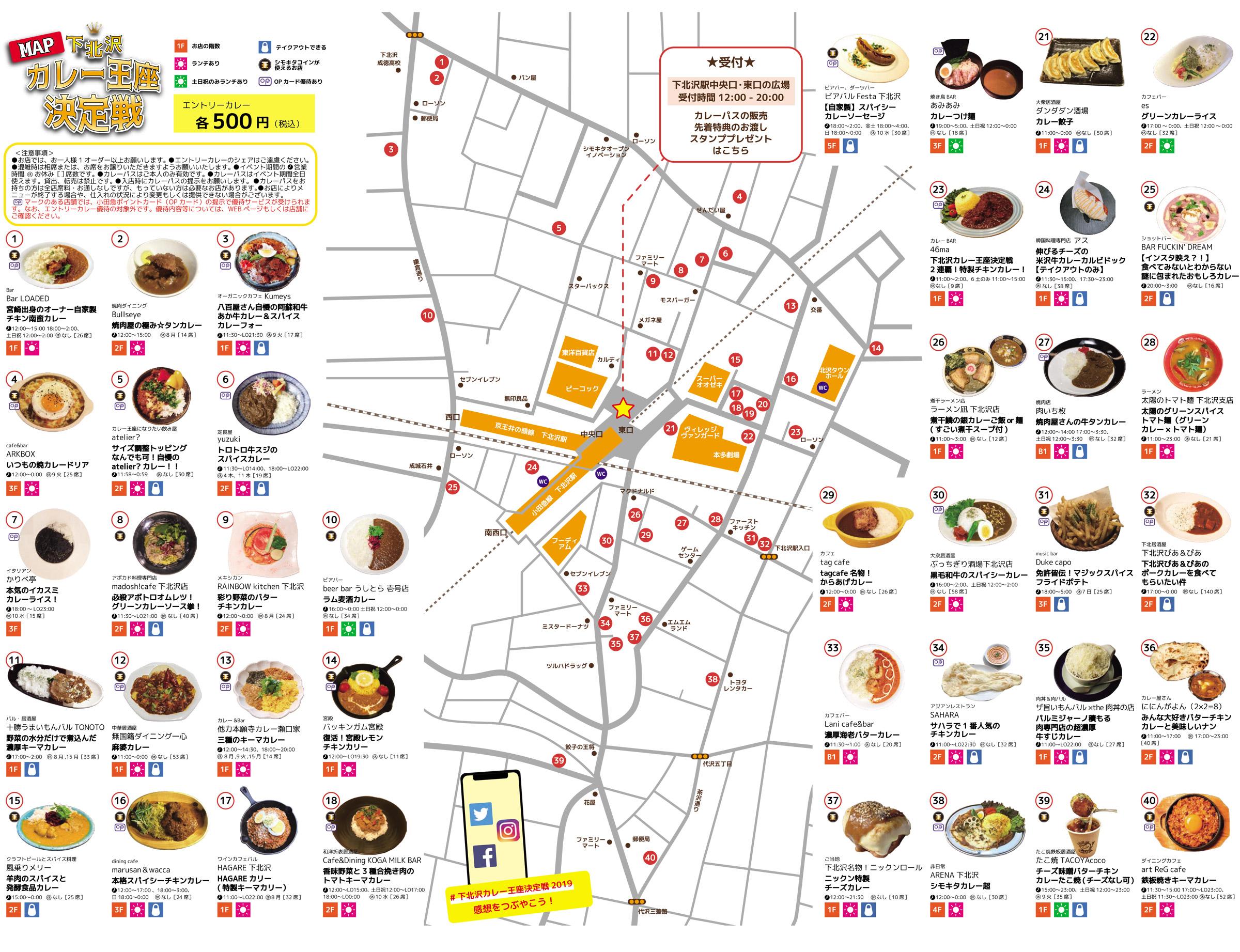 『下北沢カレー王座決定戦2019』参加店舗MAP ※クリックで拡大