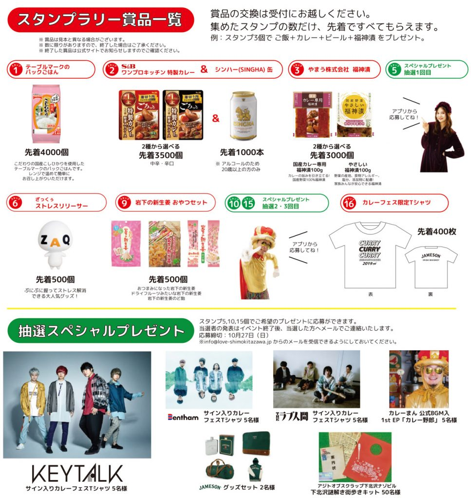 『下北沢カレーフェスティバル2019』スタンプラリー商品一覧