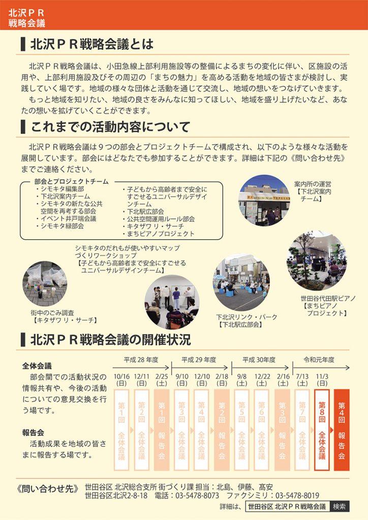 北沢PR戦略会議第8回全体会議お知らせチラシ 裏面