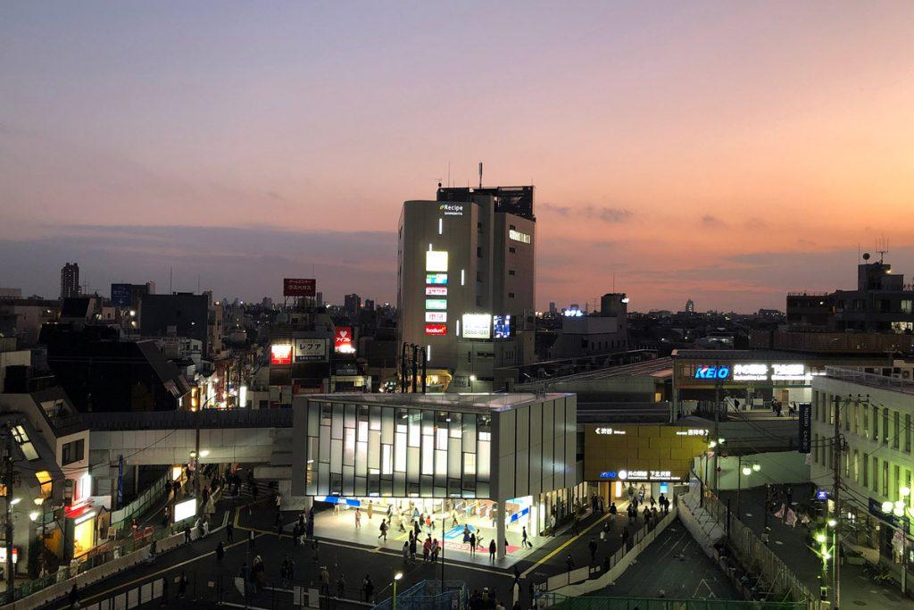 シモキタフロントから下北沢駅を望む
