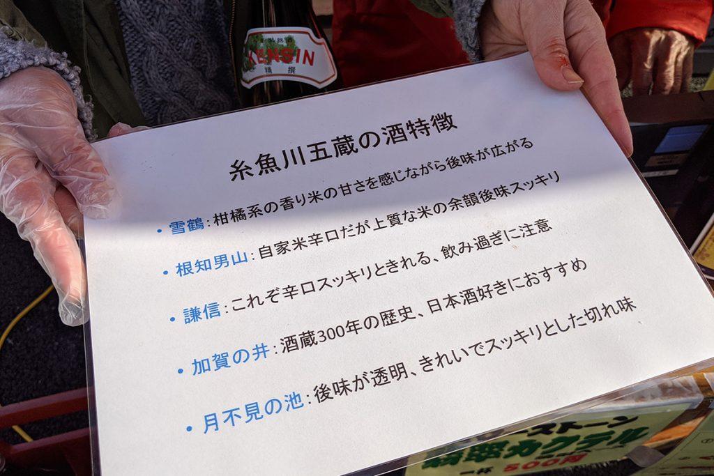 糸魚川五蔵、お酒の特徴