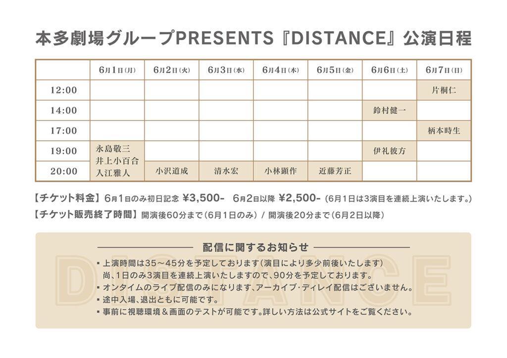 本多劇場グループPRESENTS 「DISTANCE」公演日程
