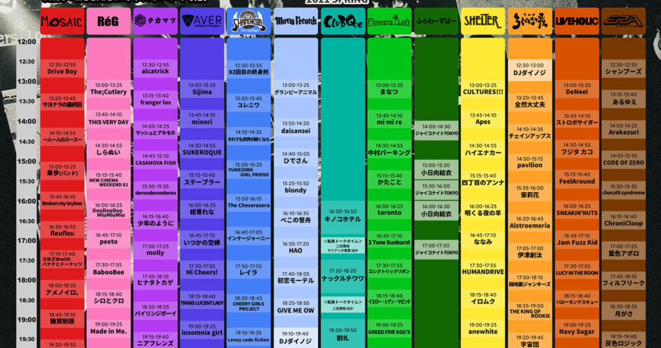 『KNOCKOUT FES 2021 spring』タイムテーブル
